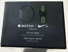 New Apple Watch Series 2 Nike+ 42mm Space Gray Aluminum Case Black Volt Sport