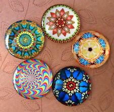 5 pcs 25mm Domed Round Cabochons Psychedelic pattern cabochon E003