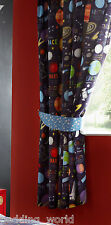"66""x72"" PLANETS CURTAINS SPACE MOON GALAXY ROCKET SHIP SCIENCE SATELLITE STARS"