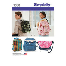 NEW Simplicity Accessories Sewing Pattern 1388 Backpacks & Messenger Bag 1 Size