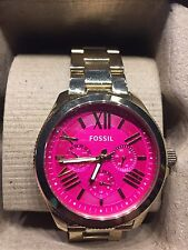 fossil cecile goldtone pink watch