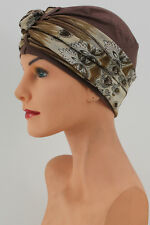 Very Pretty AUTUMN BROWN LUCILLE Head Cover SCARF Turban Hat Cancer Chemo GIFT