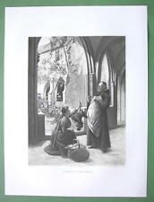 MONASTERY Monk Accepts Food Tribute - 1893 Victorian Era Antique Print