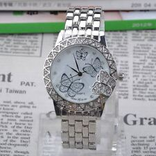 Women Crystal Butterfly Luxury Alloy Band Dial Clock Quartz Wrist Watch Gift H06