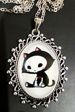 Skelanimals KIT Antique Silver Pendant Necklace Goth Steampunk Kitty Cat