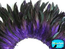 4 Inch Strip - PURPLE Dyed Half Bronze Strung Rooster Schlappen Feathers