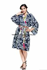 Indian 100% Cotton Floral Print Blue Bath Robe Shawl Collar Soft Dressing Gown