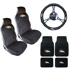 New NFL Denver Broncos Sideless Seat Covers Floor Mats Steering Wheel Cover