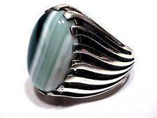 Turkish Ottoman Natural Emerald Agate Gemstone 925 Sterling Silver Men Ring T085