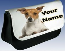 Personalised GIRLS LADIES Jack Russell Dog Pencil Case Make Up Bag Carrier Gift!
