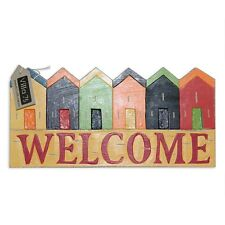 """40cm Wooden """"Welcome"""" Hanging Sign / Plaque Beach House Theme Rustic Style"""