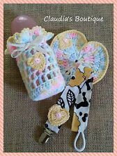 Baby bottle cover Set w/heart  crochet Handmade  ( 5 0Z)  multi-color