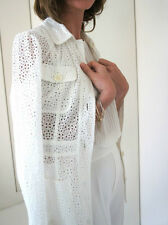 ZARA Ecru Off White Broderie Anglaise Long Jacket with Pockets M BNWT