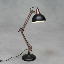Vintage Brushed Copper & Matt Black Desk Style Table Lamp Fabric Flex 75 cm H