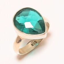 """SUPERB FACETED INDICOLITE TOURMALINE GIFT 92.5 SOLID SILVER JEWELRY RING SIZE 8"""""""