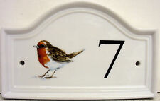 Robin Bird House Door Number Plaque  Ceramic House Sign Any Number