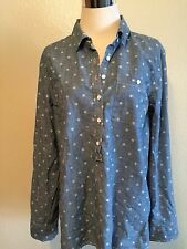 TOMMY HILFIGER  BLOUSE BUTTON DOWN COLLAR LONG ROLL TAB SLEEVE  BLUE L
