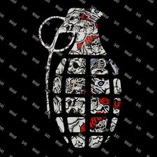 "10"" Grenade Vinyl Decal skull stickerbomb Jdm stickers illest Stance vip race"