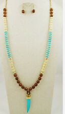 LONG WOODEN TURQUOISE IVORY STONE GOLD BEADS TURQUOISE HORN NECKLACE SET MALA