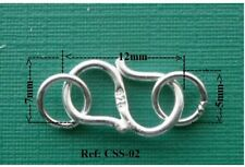 12mm  925 Sterling Silver S Hook Eye Clasps Jewellery Findings