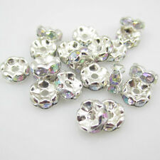 NEW Charm DIY for jewelry 100pcs 8MM Plated silver crystal spacer beads Whit AB