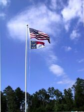 30' Silver Flag pole Top quality aluminum and Free 4X6 Printed American Flag