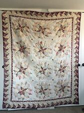 Queen Size Star Floral Hand Stitched Quilt Cutter