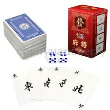 Chinese Mah Jong 144 Paper MahJong Playing Cards Family Game Travel Set + Dice