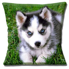 "CUTE HUSKY PUPPY DOG BLUE EYES GREY WHITE BLACK GREEN 16"" Pillow Cushion Cover"