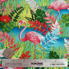 FLAMINGO Pink Turquoise TROPICAL Florida Bird Cotton Quilt Fabric by the Yard