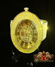 Men Torpedo 10 Row Iced Out Custom Watch Band Gold Canary Diamond Simulate Watch