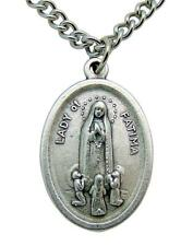 """Our Lady of Fatima Medal 3/4"""" Metal Gift with Stainless Steel Chain from Italy"""