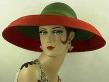 VINTAGE HAT 1940s USA, BEAUTIFUL RED & GREEN WIDE BRIM PICTURE HAT, CASABLANCA