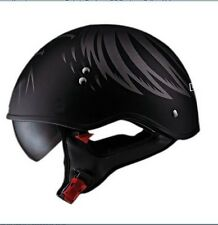 "HH566 ""A"" Half Helmet with Eagle Head Graphic and Sun Visor (Matte Black, Medium"