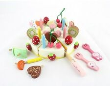 Hot sale mother garden colorful wooden toy fruit cake cut set birthday gift 1pc