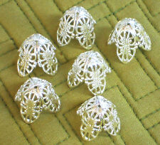#1401 Vintage Bead Caps Filigree Leaf Petal Artsy Silver Large 20mm by 18mm Cone