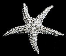 Crystal Rhinestone Starfish Brooch Pin - Silver Plated Alloy (UK Seller)