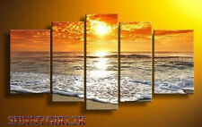 5pcs Wall Art Abstract Seascape Beach Wave Group Oil Painting Canvas (no framed)