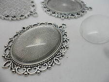 5 LARGE Oval Antique Silver Pendant Making Kit 5 Bezels,5 cabochons 40x30mm tray