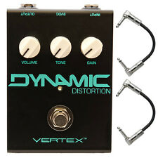 Vertex Dynamic Distortion True Bypass Guitar Effects Pedal Stompbox + Cables