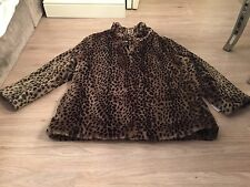 New With Tags Women's Leopard Print Flax Fur Coat Size 16
