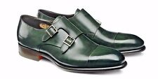 NIB Santoni Double Monk Racing Green Goodyear Welted $1100 Dress Shoes size 10
