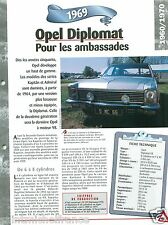 Opel Diplomat V8 Karmann 1969 Germany Allemagne Car Auto Retro FICHE FRANCE