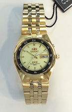 ORIENT 3 Star Automatic Mens watch Luminous dial Gold Stainless Steel bracelet