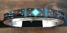 NEW NAVAJO YEI STERLING & MULTI STONE MICRO INLAY CUFF  SIGN/STAMP - 23 GRAMS