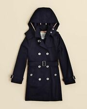 NEW $450 Burberry Girls Cotton Poplin Hood Trench Coat Jacket Navy Blue 7Y/122cm