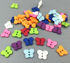 NEW 100X 2 holes Sewing Embellishments mixed color butterfly Resin button 18mm