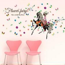 Colorful flower fairy Butterfly Girls Cartoon kids room decor Wall sticker decal