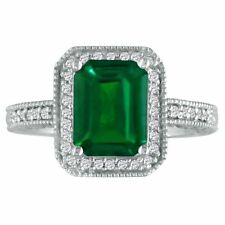 14K WHITE GOLD 3CT ANTIQUE STYLE EMERALD AND DIAMOND RING, SIZES 4 - 9.5