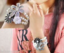 Beautiful Sparkly Crystal Flower Pearl Fashion Bracelet Hot Jewellery For Women